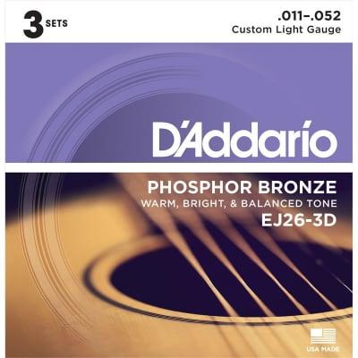 D'Addario EJ26-3D Phosphor Bronze Acoustic, Custom Light, 11-52, 3 Pack for sale