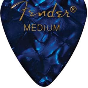 Fender 351 Premium Celluloid Guitar Picks - MEDIUM, BLUE MOTO 12-Pack (1 Dozen) for sale