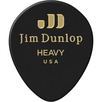 Dunlop 485P03HV Celluloid Black Teardrop Heavy Guitar Picks (12-Pack)
