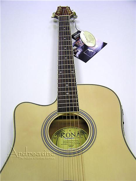 kona left hand thin body acoustic electric guitar natural reverb. Black Bedroom Furniture Sets. Home Design Ideas