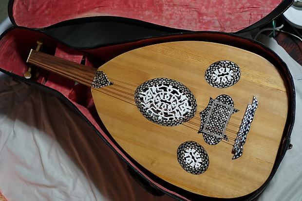 Vintage Egyptian Oud w/beautiful Inlay, Case Middle Eastern Instrument 70's