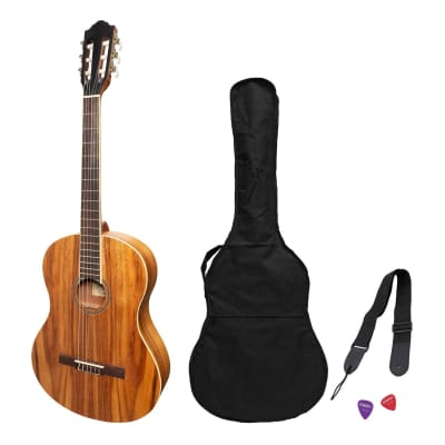 Martinez 'Slim Jim' Full Size Student Classical Guitar Pack with Built In Tuner (Rosewood) for sale