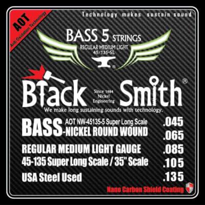 BLACKSMITH Electric Bass 5 String Set,  Nano Carbon Coated - Regular Medium Light 45-135