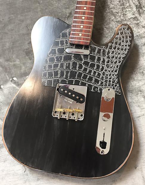 Black White Alligator Custom Engraved Bakelite Pickguard Fender®  Telecaster® Tele® 8 Hole