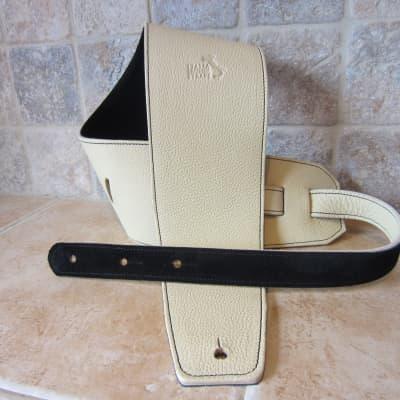 Italia Leather Straps 4 INCH WIDE CREMA LEATHER GUITAR STRAP 2020 Crema Black