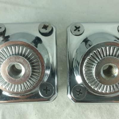 """*Premier Bass Drum Spur Holder Mounts Set 2x Chrome Vintage 80s 1 3/8"""" x 1 3/4""""*"""