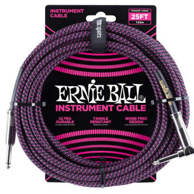 "Ernie Ball P06068 25-Foot 1/4"" Straight/Angle Braided Black/Purple Guitar Cable"