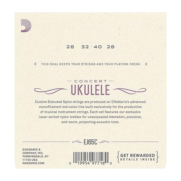 D'Addario EJ65C Pro-Arté Custom Extruded Nylon Ukulele Strings, Concert
