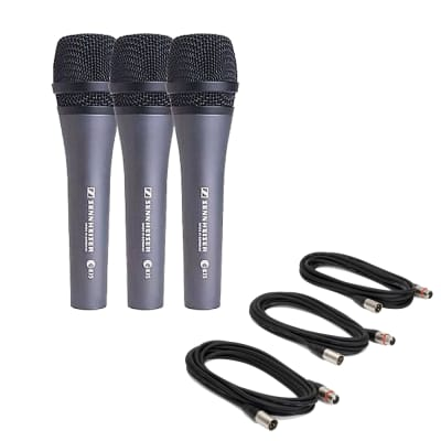 Sennheiser e835 Vocal Stage Microphone 3 pack w/ 18' XLR Cables Bundle