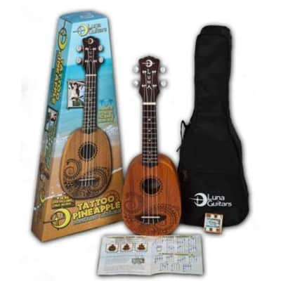 Luna Guitars UKE TATTOO Tattoo Pineapple Mahogany Soprano Ukulele Pack for sale