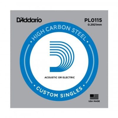 D'Addario PL0115 Plain Steel Single Acoustic Guitar String .0115