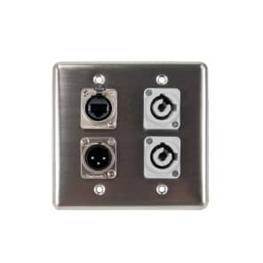 OSP Q-4-2PCB1E1XM Quad Wall Plate with 2 PowerCon B, 1 Tactical Ethernet, and 1 XLR Male Connector