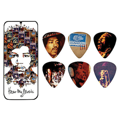 Dunlop JHPT07M Jimi Hendrix Signature Hear My Music Medium Guitar Pick Tin (6-Pack)
