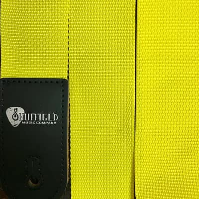 """Levy's x Shuffield Music Yellow Woven Poly 2"""" Guitar Strap  w/ Leather Ends"""