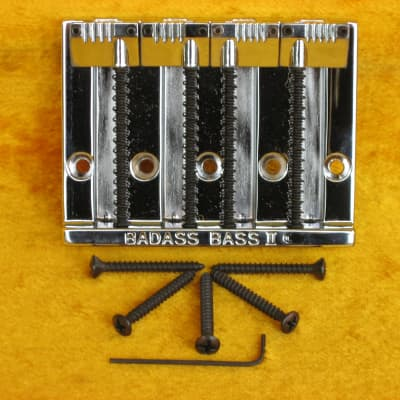 (s-782) Leo Quan BadAss II Bass Bridge for Fender-Chrome-Factory Grooved  Saddles-Blk Screws for sale