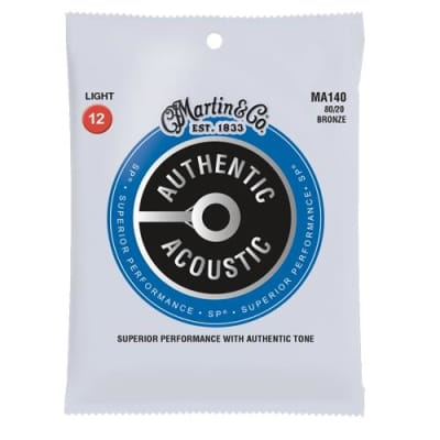 Martin MA140 Authentic Acoustic SP Light 80/20 Bronze Acoustic Guitar Strings