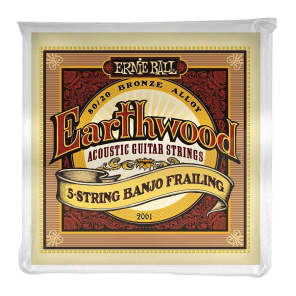 Ernie Ball 2061 Earthwood 80/20 Bronze 5-String Banjo Frailing Strings (10-24w)