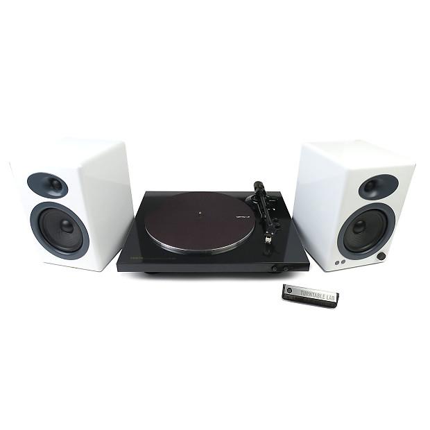 Denon DP-300F Turntable + Audioengine A5+ Package (TTL Setup)- White  Speakers