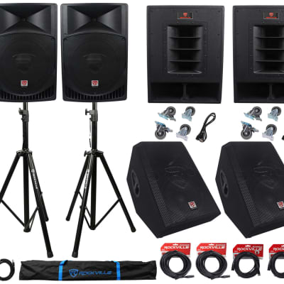 """Rockville PA System w/ 15 inch Speakers+15"""" Subwoofers+12"""" Monitors +Stands and Cables"""