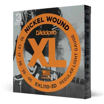 D'Addario XL - Nickel Wound Electric Guitar Strings - Regular Light (10-46) - 3 Pack