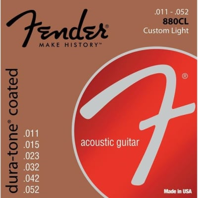 Fender 880CL Dura-Tone Coated 80/20 Bronze Strings 11-52 for sale