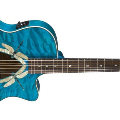 Luna Fauna Dragonfly Quilt Maple Acoustic/Electric Guitar for sale