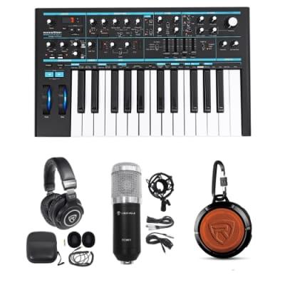 Novation BASS STATION II 25-Key MIDI USB Keyboard+Headphones+Speaker+Studio Mic