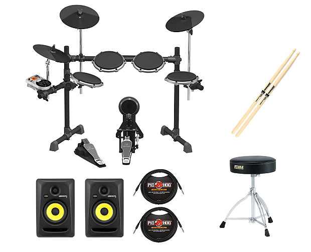 Behringer XD80 Electronic Drum kit + KRK RP5G3 Studio Monitors + Cables +  Throne + Sticks