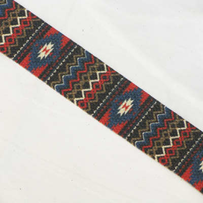 "LM Southwestern (Navajo, etc) style cotton guitar STRAP leather ends NEW 2"" wide"