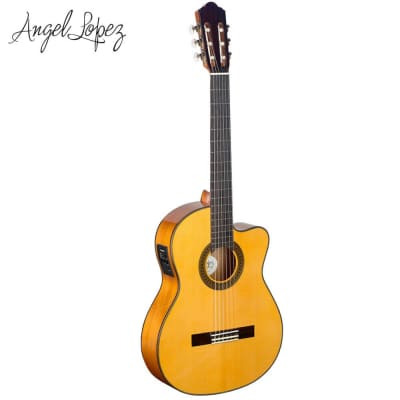 Angel Lopez CF1246CFI-S Spruce Top 4/4 Cutaway Flamenco 6-String Classical Acoustic-Electric Guitar for sale