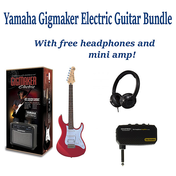 Yamaha Gigmaker Eg Electric Guitar Metallic Red Bundle Pack With Free Amp Mini Amp And Headphones