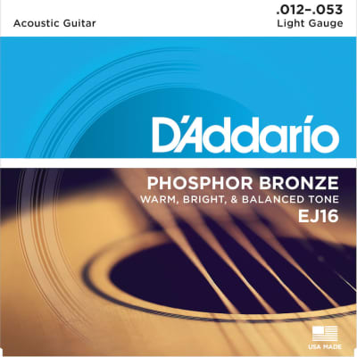D'Addario EJ16 Phosphor Bronze Light Acoustic Guitar Strings, .012 - .053