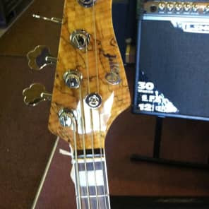 Cort GB4-Custom NAT 4-String Bass with Spalted Maple Top Natural Glossy