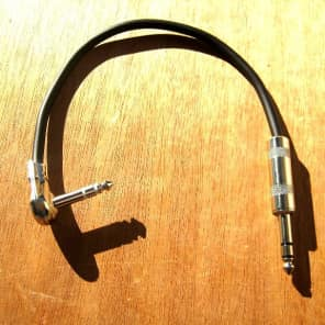 """TRS (Stereo) 12"""" Right Angle Pancake Cable on One End and Straight Plug on The Other End"""
