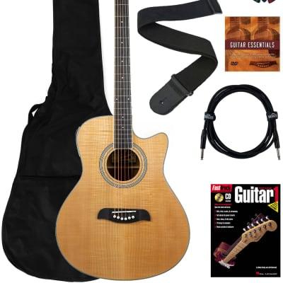 Oscar Schmidt OA10CE Mini Auditorium Cutaway Acoustic-Electric Guitar - Natural Bundle with Gig Bag, Cable, Tuner, Strap, Picks, Instructional Book, DVD, and Austin Bazaar Polishing Cloth for sale