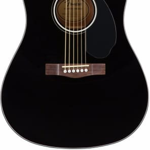 Fender CD-60SCE Solid Top Black Dreadnaught Acoustic Electric Guitar for sale