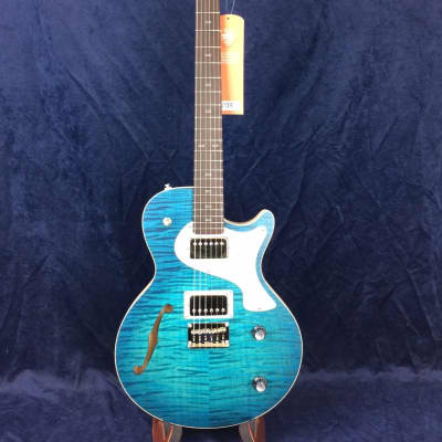 PJD Guitars Carey Elite With F-Hole in Royal Blue Burst with Bareknuckle Pickups for sale