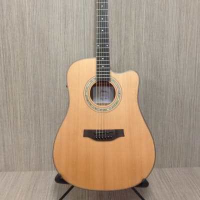 Klema K200DC-CE Satin / Natural Solid Cedar Top,Dreadnought Acoustic Guitar,Cutaway,EQ+ Gig Bag for sale