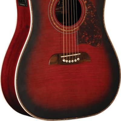 Oscar Schmidt OG2CE Dreadnought Cutaway Acoustic-Electric Guitar - Flame Blac... for sale