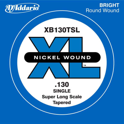D'Addario XB130TSL Nickel Wound Super Long Scale Single Bass Guitar String, .130, Tapered