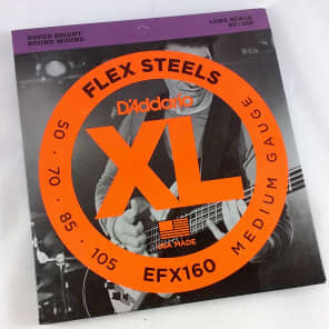 D'Addario EFX160 FlexSteels Long Scale Bass Guitar Strings, Medium Gauge
