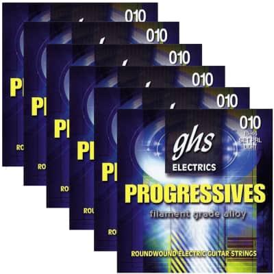 6 Sets of GHS PRL Progressives Roundwound Electric Guitar Strings, Light (10-46)
