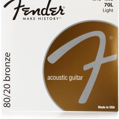 Fender 70L 80/20 Bronze Acoustic Guitar Strings - LIGHT 12-52 for sale
