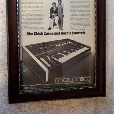 1977 Moog Synthesizers Promotional Ad Framed Chick Corea, Herbie Hancock Original