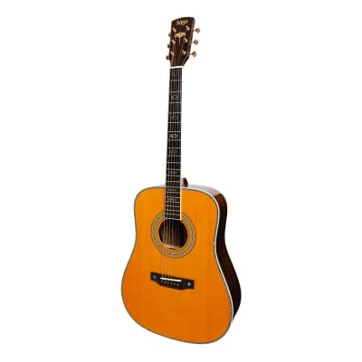 Saga SL68 All-Solid Spruce Top Okoume Back & Sides Acoustic-Electric Dreadnought Guitar (Natural Gloss) for sale