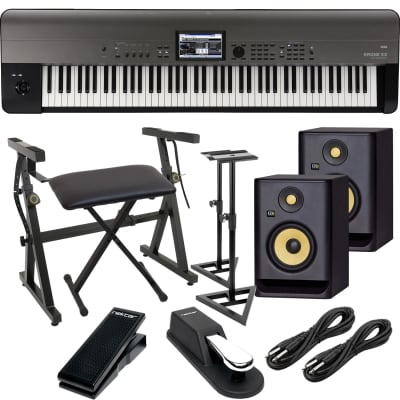 Korg Krome EX 88 – Music Workstation, (2) KRK RP5G4 Monitors, Monitor Stands, Plixio Stand, Bench, Sustain Pedal, Nektar NX-P, (2) 1/4 Cables Bundle