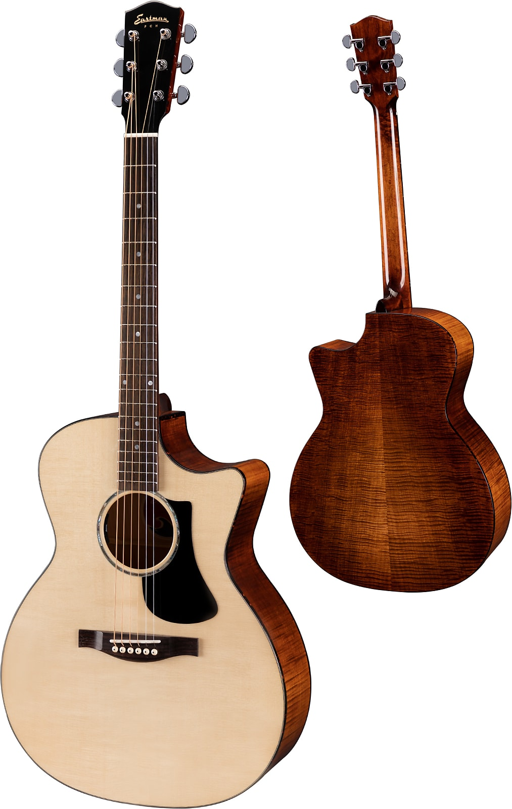 Eastman PCH3-GACE Solid Sitka / Flame Maple Cutaway Acoustic Electric Natural