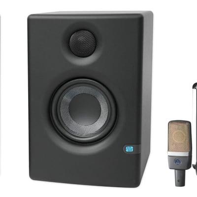 AKG C214 Studio Condenser Microphone Recording Mic+Presonus Eris E3.5 Monitors