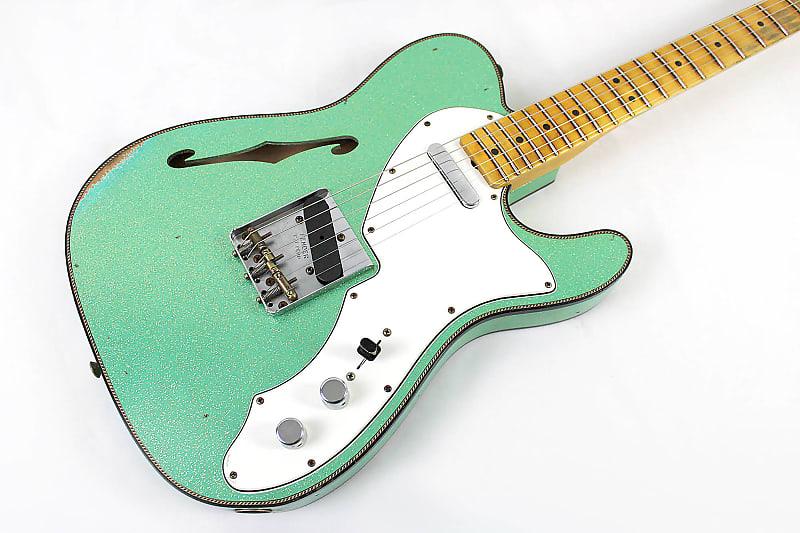 2021 Fender Custom Shop Limited Edition 60s Custom Telecaster Thinline - Aged Seafoam Green Sparkle
