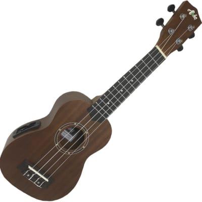 Aloha 500EQ ukelele soprano electrificado color madera for sale
